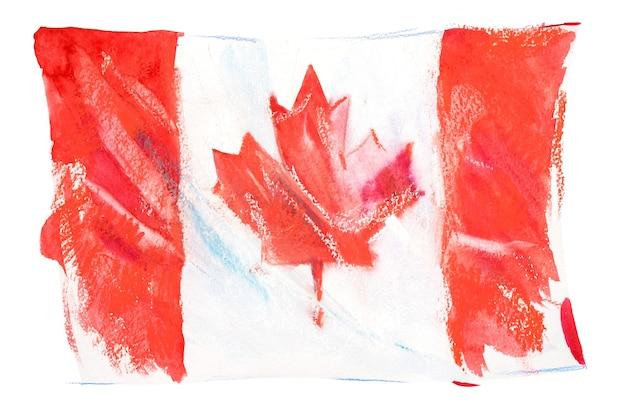 Canada, bandiera canadese. illustrazione dell'acquerello disegnato a mano.