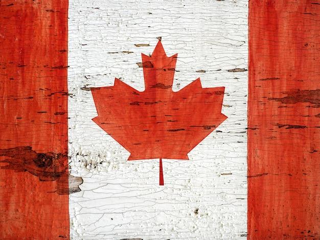 Bandiera canadese. bellissimo biglietto di auguri. primo piano, vista dall'alto.