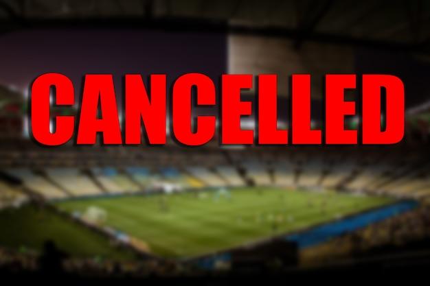 Concetto di partita sportiva annullata. fine stagione sportiva.