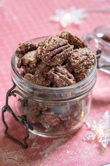 Pecan canditi, mandorle e noci con zucchero di canna e cannella