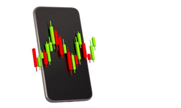 Grafico del grafico del bastoncino di candela del trading online del mercato azionario con il telefono cellulare, sfondo dell'illustrazione di rendering 3d
