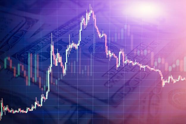 Grafico del grafico del bastone della candela del commercio di investimento del mercato azionario, della progettazione di massima della borsa valori e dello sfondo.