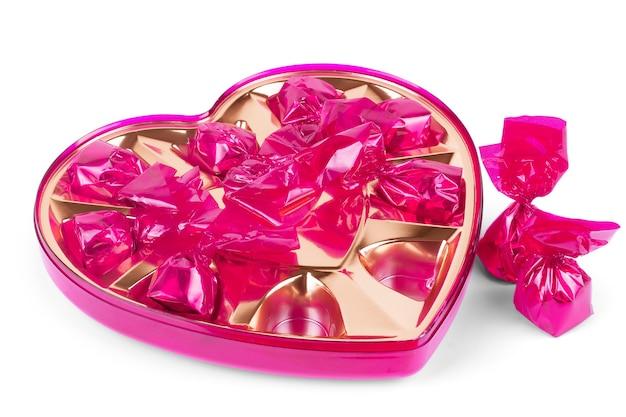 Candy san valentino cuore isolato su sfondo bianco.