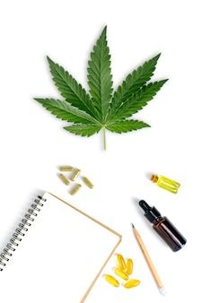 Cannabinol cbd, molecola di cannabis. formula chimica di cannabis o canapa o marijuana. concetto verde isolato su bianco