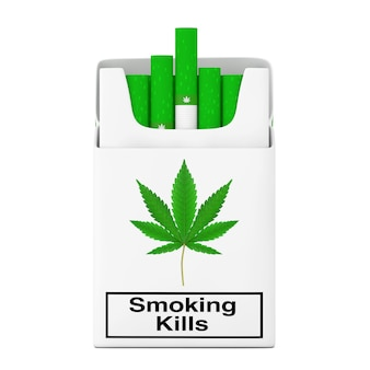 Concetto di pacchetto di sigarette di cannabis su uno sfondo bianco. rendering 3d