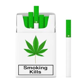 Concetto di pacchetto di sigarette di cannabis con una sigaretta di cannabis su sfondo bianco. rendering 3d