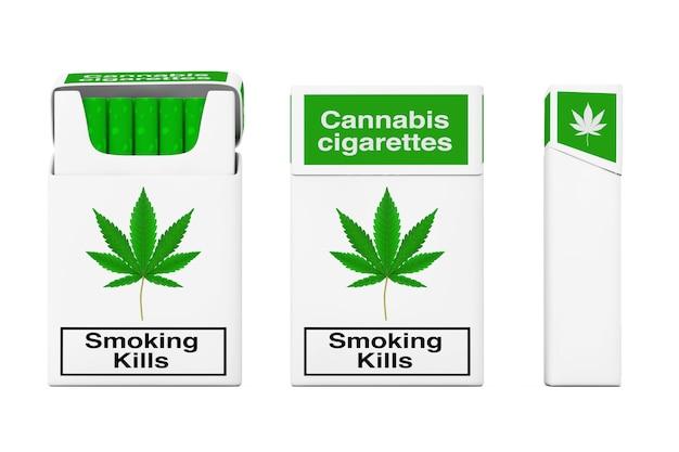 Pacchetto di sigarette di cannabis set concetto su sfondo bianco. rendering 3d