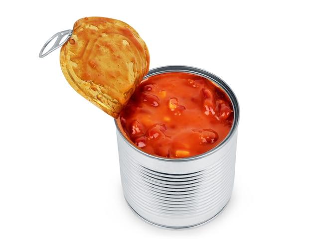 Fagioli in scatola in salsa di pomodoro. isolato su bianco