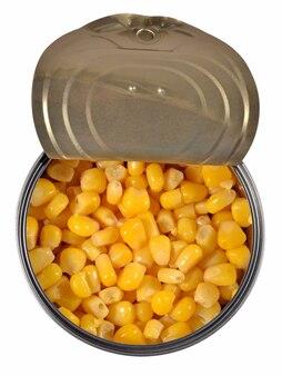 Mais dolce in scatola in un barattolo di latta. vista dall'alto.