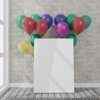 Tela con alcuni palloncini in una stanza con luce diurna