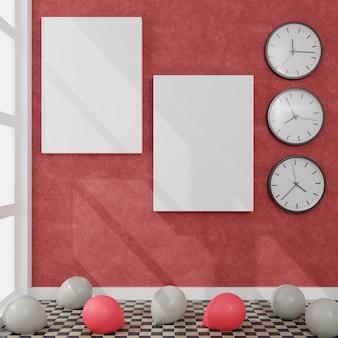 Tela con alcuni palloncini e orologi da parete in una stanza con luce diurna
