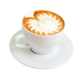Cappuccino. tazza di caffè su sfondo bianco (isolato con percorso).