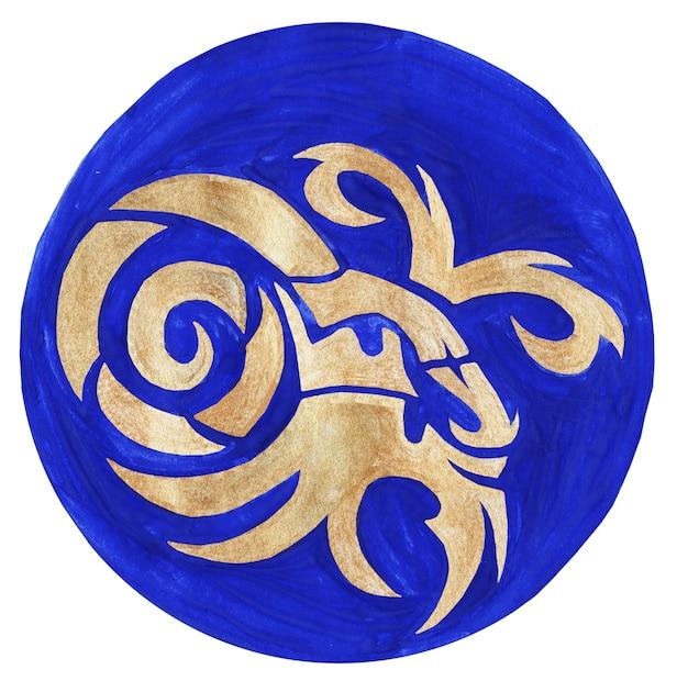 Illustrazione dell'acquerello del simbolo dello zodiaco del capricornol'icona dello zodiaco immagine raster dell'astrologia capricorno
