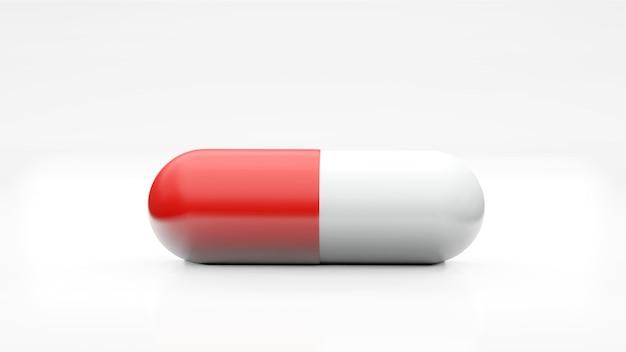 Capsule isolate su sfondo bianco. icona pillola medica primo piano isolare, tre dimensioni