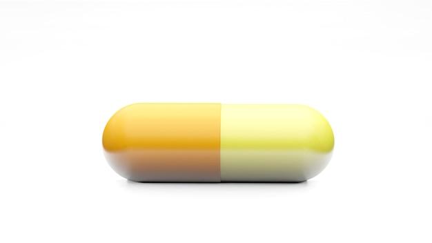 Capsule isolate su superficie bianca. icona pillola medica primo piano isolare, tre dimensioni
