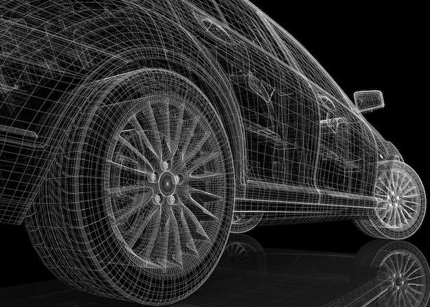 Struttura della carrozzeria del modello 3d dell'auto