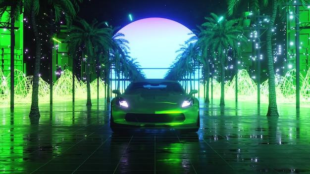 Auto e città in stile neon. 80s retro onda sfondo 3d illustrazione. retro automobile futuristica guida attraverso la città al neon.