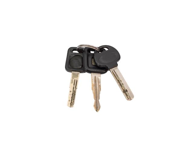 Gruppo manuale chiave auto gancio insieme, isolato su bianco
