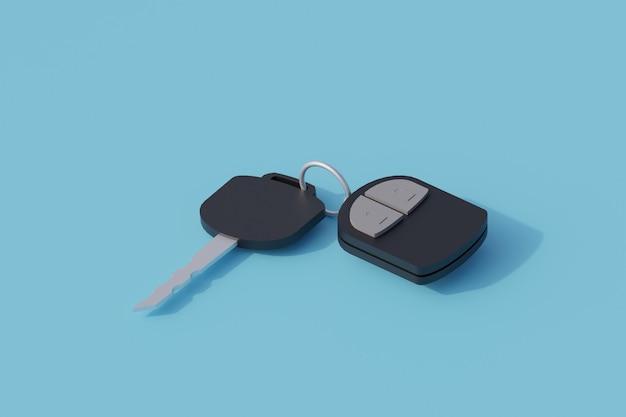Chiavi della macchina singolo oggetto isolato. 3d render illustrazione isometrica