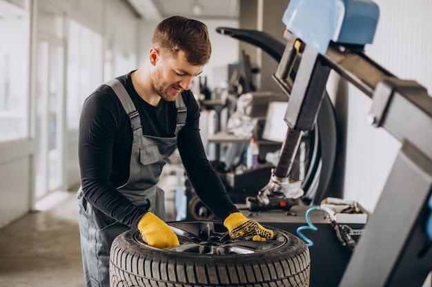 Meccanico che cambia le ruote in auto