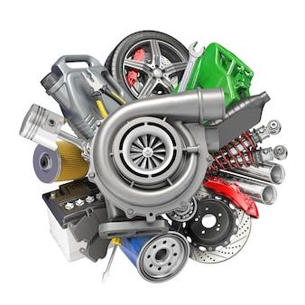Ricambi auto, ricambi e accessori. illustrazione 3d