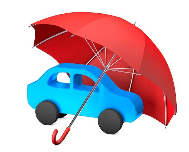 Protezione dell'auto. ombrello rosso e auto. assicurazione auto. isolato su sfondo bianco. rendering 3d