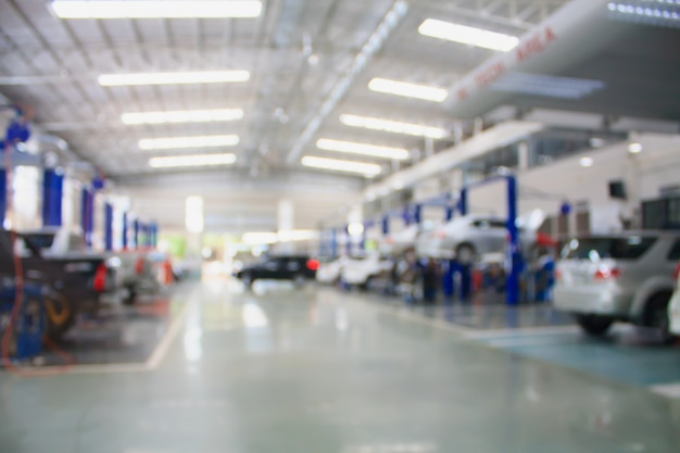 Centro di servizio di manutenzione riparazione auto sfondo sfocato