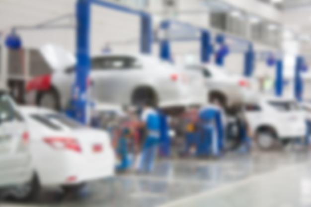 Centro di servizio di riparazione auto sfondo sfocato