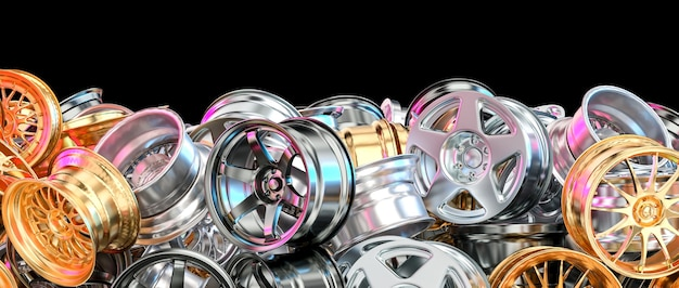 Cerchi per auto in alluminio anodizzato, acciaio e oro.
