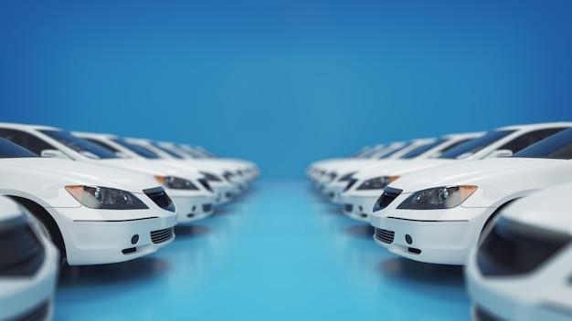 Vendo auto nuova di serie. rendering 3d e illustrazione.
