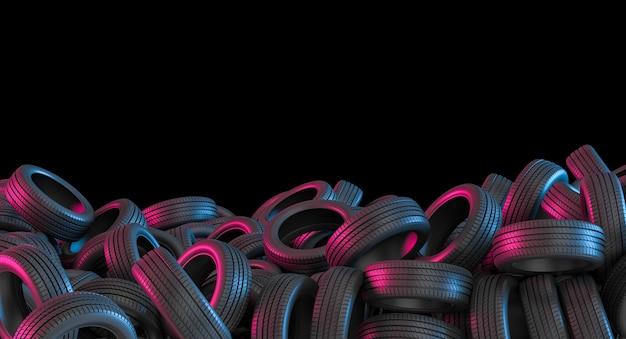 Sfondo concettuale di pneumatici per auto con luci viola e blu. rendering 3d.