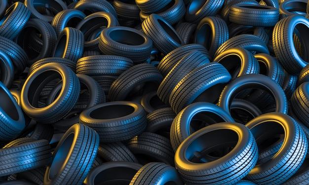 Sfondo concettuale di pneumatici per auto con luci gialle e blu. rendering 3d.