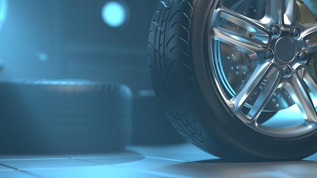 Pneumatici per auto in una stanza futuristica cerchi in lega