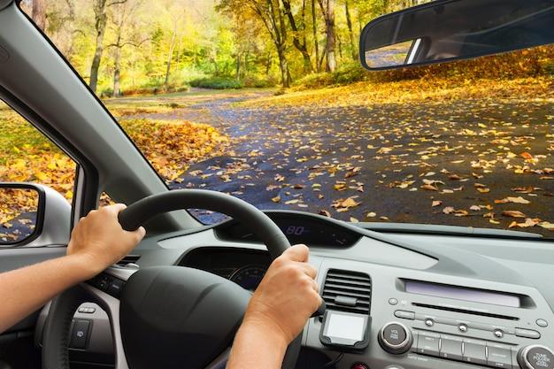 Parabrezza auto con strada asfaltata autunno paese