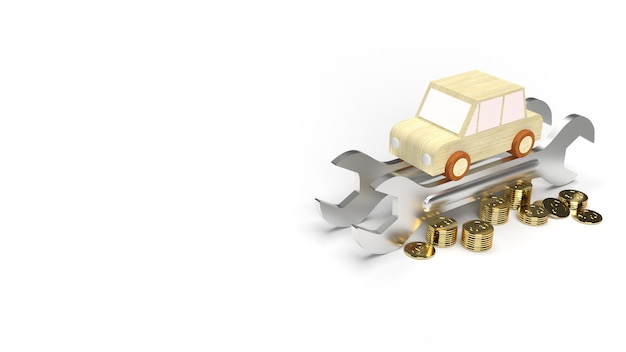 Il giocattolo di legno auto e le monete d'oro chiave su sfondo bianco rendering 3d.