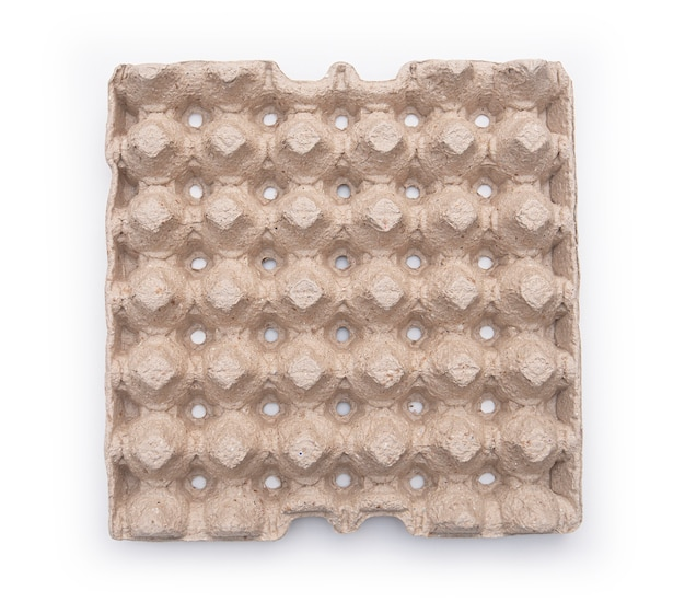 Scatola di cartone per uova. scatola di cartone vuota. vista dall'alto. isolato su bianco