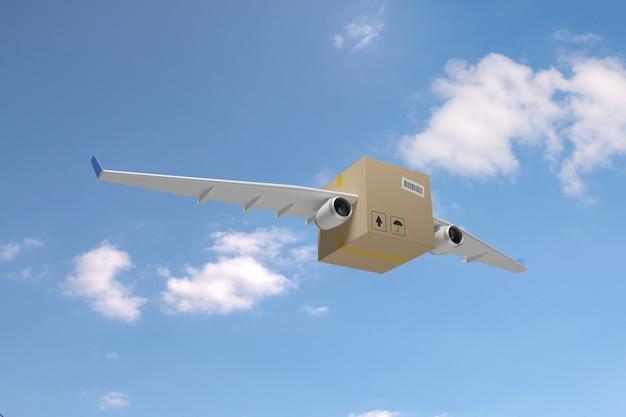 Scatola di cartone con ali di aeroplano su un cielo blu