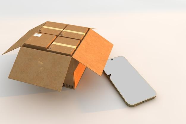 Scatole di cartone e smartphone