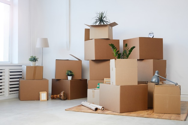 Scatole di cartone impilate nella stanza vuota con piante e oggetti personali all'interno, concetto di spostamento o trasferimento