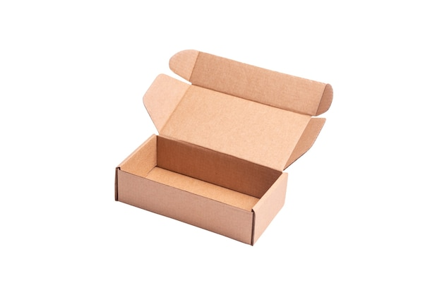 Cartone, scatola postale in cartone, custodia, vista dall'alto, isolata
