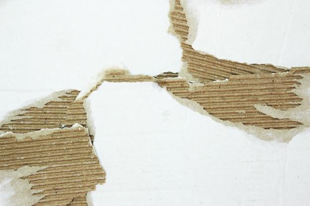 Fondo strutturato dei pezzi di cartone. pezzo di cartone con copia spazio, carta kraft strappata isolata su bianco