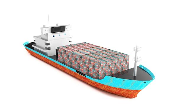 Nave porta-container di carico isolata 3d render