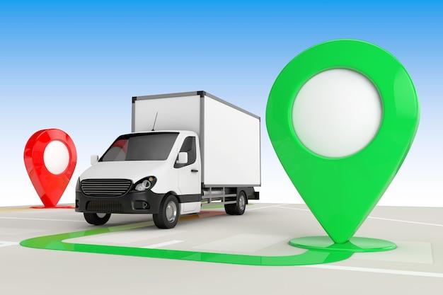 Concetto di consegna del carico. camion furgone di consegna del carico industriale commerciale bianco dall'alto della mappa di navigazione astratta con il primo piano estremo dei puntatori della mappa di destinazione. rendering 3d