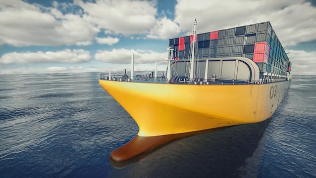 Nave da carico che naviga nel mare. rendering 3d e illustrazione.