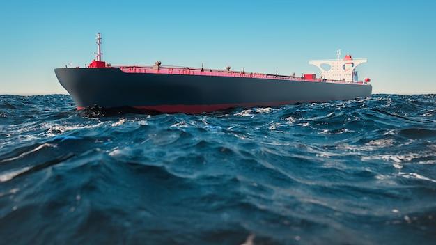 Navi da carico, erano in mezzo al mare. rendering 3d e illustrazione.