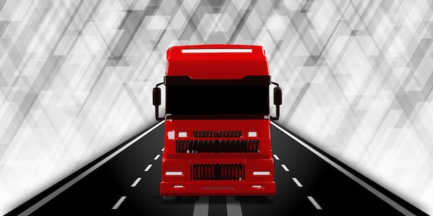 Illustrazione 3d del sistema di trasporto internazionale di camion e consegne di merci