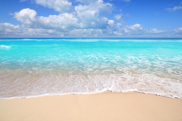 Giorno soleggiato del mare perfetto della spiaggia caraibica del turchese