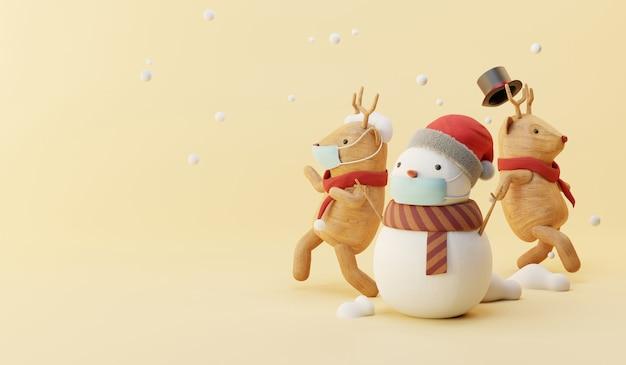 Cartoon 3d rendering di pupazzo di neve e festa di renne.