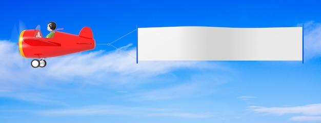 Aeroplani del fumetto con la bandiera. rendering 3d