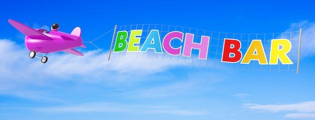 Aeroplani del fumetto con la bandiera del bar sulla spiaggia. rendering 3d